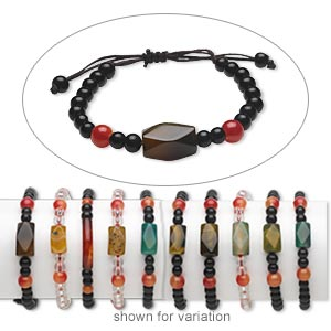 bracelet mix, agate (natural / dyed / man-made) and glass, mixed colors, round / curved tube / faceted rectangle, adjustable 5-8 inches with macrame knot closure. sold per pkg of 5.