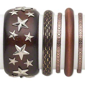bracelet mix, bangle, wood (dyed) / copper- / silver- / antiqued gold-finished steel, brown, 4.5-40mm wide with mixed design, 7-1/2 to 8 inches. sold per 5-piece set.