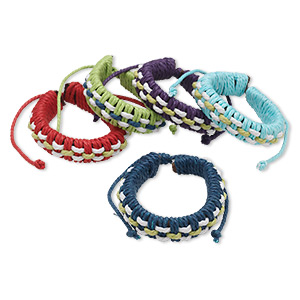 bracelet mix, leather (natural) and cotton, mixed colors, adjustable from 5-1/2 to 7-1/2 inches with knot closure. sold per pkg of 5.