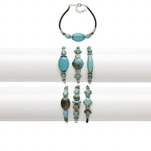 bracelet mix, magnesite (dyed / stabilized) / velvet / silver-coated plastic / silver-finished steel, blue / green / black, 11-16mm wide with mixed shape, 7-1/2 inches with 2-inch extender chain and springring clasp. sold per pkg of 3.