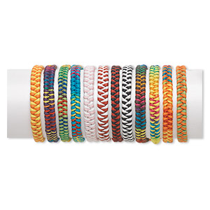 bracelet mix, nylon, multicolored, 5-7mm wide, adjustable from 6-9 inches with tie closure. sold per pkg of 12.