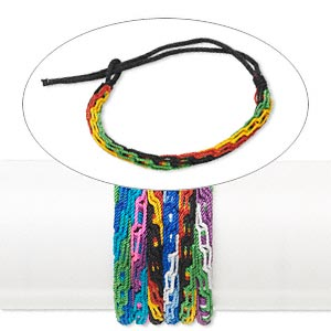 bracelet mix, nylon, multicolored, 6mm wide, adjustable from 6-9 inches with tie closure. sold per pkg of 6.