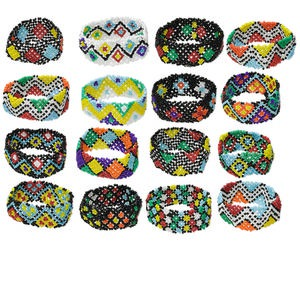 bracelet mix, stretch, glass, multicolored, 26mm wide, 6-1/2 inches. sold per pkg of 16.