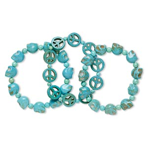 bracelet mix, stretch, magnesite and chalk turquoise (dyed / stabilized), matte blue / blue-green / teal, 4-6mm round / 12mm skull / 15mm peace sign, 6-1/2 inches, mohs hardness 3-1/2 to 6. sold per pkg of 3.