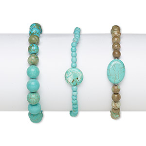 bracelet mix, stretch, magnesite and chalk turquoise (dyed / stabilized), mixed colors, 4mm-30x23mm multi-shape, 6-1/2 inches. sold per pkg of 3.