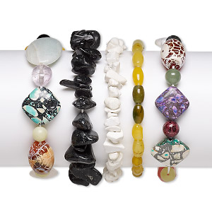 bracelet mix, stretch, multi-gemstone (natural / dyed / heated / imitation / assembled), multicolored, 6x1mm-30x20mm mixed shape, 6-1/2 inches. sold per pkg of 5.