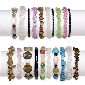 bracelet mix, stretch, multi-gemstone (natural / dyed / imitation / assembled) and glass, multicolored, 6x1mm-35x25mm mixed shape, 6-7 inches. sold per pkg of 50.