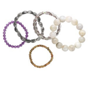 bracelet mix, stretch, multi-gemstone (natural / man-made), 9-13mm wide with 4-20mm mixed shape, 6-1/2 to 7 inches. sold per pkg of 5.