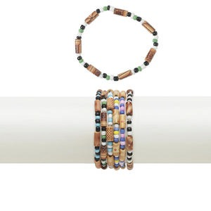 bracelet mix, stretch, wood (coated) / acrylic / glass / ceramic, multicolored, 5mm wide, 6-1/2 inches. sold per pkg of 10.