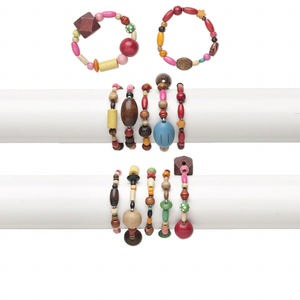 bracelet mix, stretch, wood (natural / dyed), mixed colors, 15-18mm wide, 5-21mm assorted shape, 6 inches. sold per pkg of 5.
