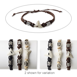 bracelet mix, wood (natural / dyed) / resin / cotton / silver-coated plastic, multicolored, 4-6mm wide, adjustable from 6-9 inches with wrapped knot closure. sold per pkg of 3.