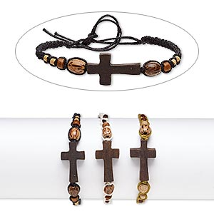 bracelet mix, wood (natural) / stained wood / waxed cotton cord, mixed colors, 16mm wide with 28x16mm cross, adjustable from 6-8 inches with tie closure. sold per pkg of 3.
