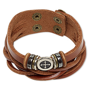 bracelet, multi-strand, hemalyke™ (man-made) / wood / leather (dyed) / silver-coated plastic / imitation rhodium- / antique brass-plated steel, brown, 27mm wide, adjustable at 5-1/2 and 6 inches with double snap closure. sold individually.
