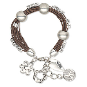 bracelet, multi-strand, waxed cotton cord / antique silver-coated plastic / antique silver-plated steel / pewter (zinc-based alloy), brown, flower, 7 inches with 1-1/2 inch extender chain and lobster claw clasp. sold individually.