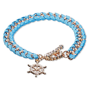 bracelet, nylon / czech glass rhinestone / copper-finished steel / pewter (zinc-based alloy), blue and clear, 8mm wide with 17.5mm ships wheel, 7 inches with toggle clasp. sold individually.