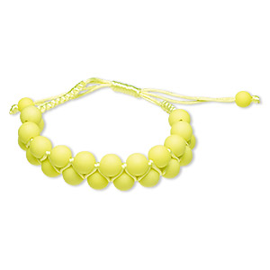 bracelet, nylon and acrylic, neon yellow, 18mm wide with 8mm round, adjustable from 6-1/2 to 9 inches with wrapped knot closure. sold individually.