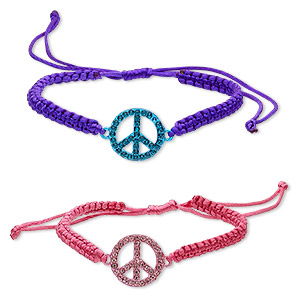 bracelet, polyester / glass rhinestone / pewter (zinc-based alloy), pink / purple / turquoise blue, 19mm peace sign, adjustable from 6 to 7-1/2 inches with wrapped knot closure. sold per pkg of 2.