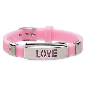 bracelet, softique™, silicone and stainless steel, pink, 16mm wide with 39x16mm curved rectangle and cutout love, adjustable from 5-1/2 to 7-1/2 inches with buckle-style closure. sold individually.