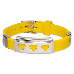 bracelet, softique™, silicone and stainless steel, yellow, 16mm wide with 39x16mm rectangle and cutout hearts, adjustable from 5-1/2 to 7-1/2 inches with buckle-style closure. sold individually.
