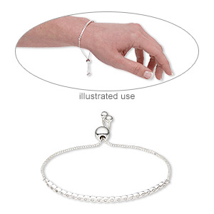 bracelet, sterling silver / cubic zirconia / silicone, clear, 3mm wide, adjustable from 6 to 8 -1/2 inches with 8mm adjustable slider bead. sold individually.