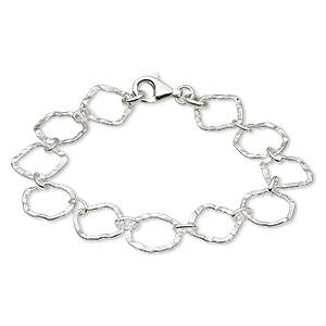 bracelet, sterling silver, 14mm hammered round and 15mm diamond, 7-1/2 inches with lobster claw clasp. sold individually.