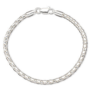 bracelet, sterling silver, 3.5mm tube link, 7 inches with lobster claw clasp. sold individually.
