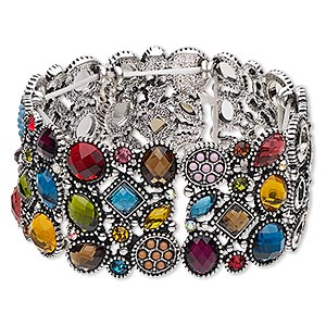 bracelet, stretch, acrylic / glass rhinestone / antique silver-finished pewter (zinc-based alloy), multicolored, 35.5mm wide with multi-shape design, 6-1/2 inches. sold individually.