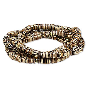 bracelet, stretch, acrylic and gold-coated plastic, brown and tan, 5mm wide, 6 inches. sold per pkg of 4.
