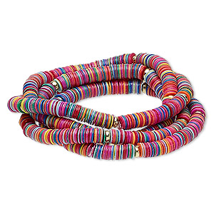 bracelet, stretch, acrylic and gold-coated plastic, multicolored, 5mm wide, 6-1/2 inches. sold per pkg of 4.