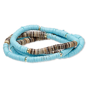 bracelet, stretch, acrylic and gold-coated plastic, turquoise blue / brown / tan, 5mm wide, 6-1/2 inches. sold per pkg of 4.
