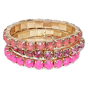 bracelet, stretch, acrylic rhinestone and gold-finished steel, pink and frosted pink, 8mm wide cupchain, 7 inches. sold per 3-piece set.