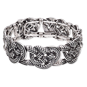 bracelet, stretch, antique silver-plated pewter (zinc-based alloy), 22mm wide with knot design, 7-1/2 inches. sold individually.