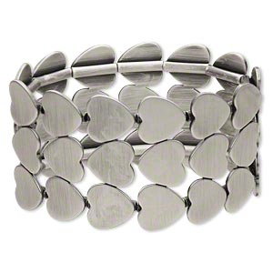 bracelet, stretch, antiqued silver-plated steel, 41mm wide with 3-row heart, 7-1/2 inches. sold individually.