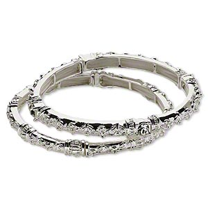 bracelet, stretch, austrian glass rhinestone and silver-plated pewter (zinc-based alloy), clear, 6.5mm wide with raised fancy design, 6-1/2 inches. sold per pkg of 2.