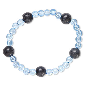 bracelet, stretch, blackstone (dyed) and acrylic, blue, 5mm and 9-10mm round, 6 inches. sold individually.