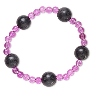 bracelet, stretch, blackstone (dyed) and acrylic, purple, 5mm and 12-13mm round, 6-1/2 inches. sold individually.