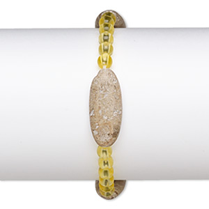 bracelet, stretch, brown feldspar (natural) and acrylic, yellow, 5mm round and 29x12mm-30x13mm puffed oval, 6-1/2 inches. sold individually.