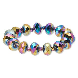 bracelet, stretch, celestial crystal, metallic rainbow, 4mm faceted bicone and 13x9mm faceted rondelle, 7 inches. sold individually.