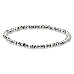 bracelet, stretch, celestial crystal, platinum, 4x3mm faceted rondelle, 7 inches. sold individually.