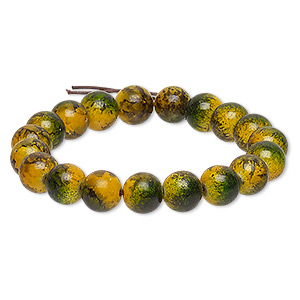 bracelet, stretch, coated glass, opaque yellow and green, 9-10mm mottled round, 6-1/2 inches. sold individually.
