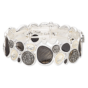 bracelet, stretch, druzy (imitation) / czech glass rhinestone / enamel / silver-plated pewter (zinc-based alloy), black / cream / clear, 19mm wide with freeform design, 6-1/2 inches. sold individually.