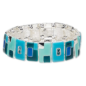 bracelet, stretch, enamel / glass rhinestone / silver-plated pewter (zinc-based alloy), multicolored, 19mm wide with rectangle, 7-1/2 inches. sold individually.