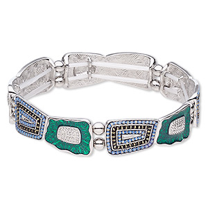 bracelet, stretch, enamel / imitation rhodium-coated plastic / imitation-rhodium-finished pewter (zinc-based alloy), green / light blue / black, 15mm wide with trapezoid, 7 inches. sold individually.