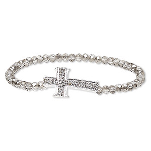 bracelet, stretch, glass / glass rhinestone / silver-plated pewter (zinc-based alloy), grey and clear, 4x3mm faceted rondelle and 27x17mm cross, 6-1/2 inches. sold individually.