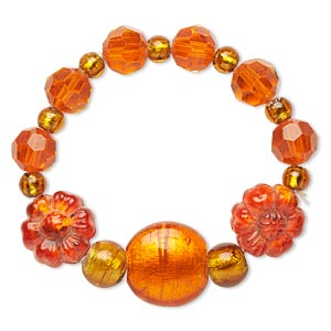 bracelet, stretch, glass and lampworked glass, orange and amber brown with silver-colored foil, 21mm wide with faceted round, 6 inches. sold individually.