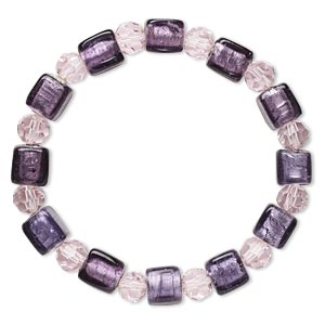 bracelet, stretch, glass and lampworked glass, pink and purple with silver-colored foil, 8mm faceted round and 9x9mm cube, 7 inches. sold individually.