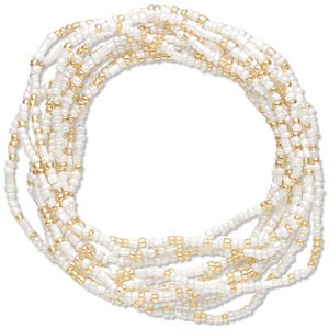 bracelet, stretch, glass, cream and golden yellow, 3mm wide, 6 inches. sold per pkg of 12.