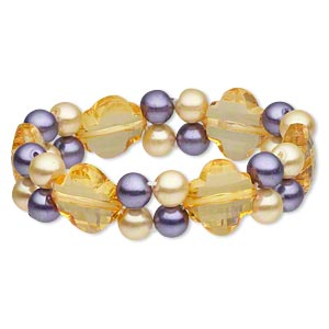 bracelet, stretch, glass pearl and acrylic, yellow and purple, cross and round, 7 inches. sold individually.