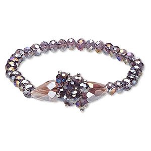 bracelet, stretch, glass, purple ab, 17mm wide with rondelle and teardrop, 6 inches. sold individually.