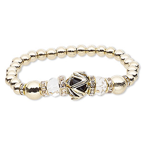 bracelet, stretch, glass rhinestone / glass / gold-coated plastic / gold-finished pewter (zinc-based alloy), black and clear, 14mm round, 6 inches. sold individually.